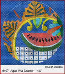 6197 Agua Viva Coaster Leigh Designs 18 Count Canvas