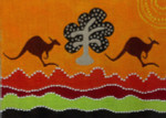 Kangaroos Leaping Needlepoint-Unique New Zealand Designs
