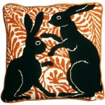 60009 Fine Cell Needlepoint Kit Black Boxing Hares