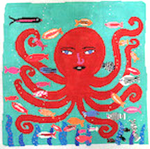 CC713 Red Octopus Birds Of A Feather