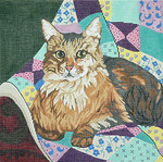 BR033 Barbara Russell Maine Coon Cat On Quilt
