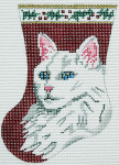 BR034 Barbara Russell White Cat Sock Ornament