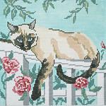 BR044 Barbara Russell Cat/Trellis Pillow