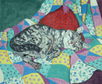 BR028 Barbara Russell Cat On Quilt