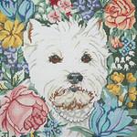 BR011 Barbara Russell Westie In Flowers