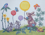 BR081 Barbara Russell Bunny Mice Birth Sampler