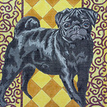 BR149 Barbara Russell Black Pug On Gold