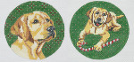 BR198 Barbara Russell Yellow Lab Ornament Candycane