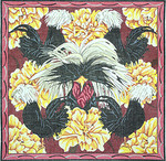 BR190 Barbara Russell 5 Black Crested Fowl And Flowers