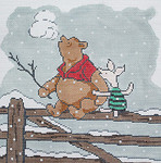 BR297 Barbara Russell BPooh And Piglet On Fence