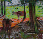 W10 Barbara Russell Miller 2 Cows In Woods