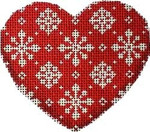 CT-1231 Snowflakes on Red Heart Ornament Associated Talents