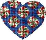 CT-1236 Peppermint Rounds Heart Orna. Associated Talents