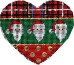 CT-1240 Plaid/Santas/Dots Heart Orna. Associated Talents