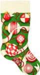 CS-226 Ornaments/Green Bkgrd. Stocking Associated Talents