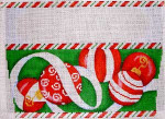ST-805 Red Ornaments/Green Bkgd. Stocking Cuff Associated Talents