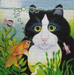 "So Near Cat And Fish 8"" x 8"" 13 Mesh By Vicky Mount Unique New Zealand Designs Cat"