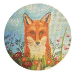 "Fox in the Flowers 4.5"" in diameter 18 Mesh By Catherine Nolin Unique New Zealand Designs New Destination Dallas"