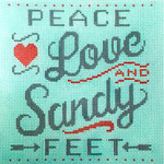 AP2860 Peace, Love & Sandy Feet Alice Peterson 7 x 7 13 mesh canvas Mesh  !