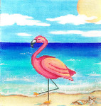 AP2861 Flamingo on the Beach Alice Peterson 8.5 x 9 13 mesh canvas Mesh  !