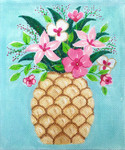 AP2862 Pineapple with Flowers  Alice Peterson 8.5 x 10.25 13 mesh canvas Mesh  !