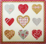 AP2867 Sparkle Hearts Alice Peterson 12 x 11.5 13 mesh canvas Mesh  !