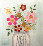 AP2869 Mason Jar of Flowers Alice Peterson 12 x 13 13 mesh