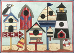 AP2877 Nautical Birdhouses Alice Peterson  9 x 6.5, Handpainted on 13 mesh canvas