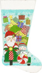 AP2874 Santa on a Scooter Stocking Alice Peterson 11 x 19 13 Mesh