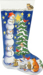 AP2899 Tree-trimming Snowmen Stocking Alice Peterson 11 x 19 13 Mesh