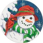 X297 Snowman & Cardinal Ornament  Alice Peterson 4 x 4 18 mesh