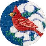 X299 Cardinal in Tree Ornament Alice Peterson 4 x 4 18 mesh