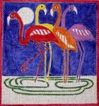A61  Fauve Flamingos (Night Sky)  7.5 x 7.5 18 Mesh Changing Women Designs