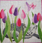 A35 Cat and Tulips 8 x 8   18 Mesh Changing Women Designs