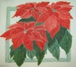FL108 Red Poinsettia  9 x 9 18 Mesh Changing Women Designs