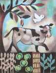 KS-1 Cow in the Garden 10 x 13 18 Mesh KEN SWINSON The Meredith Collection