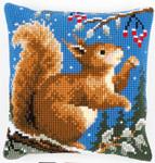 PNV145052Cross Stitch Cushion Squirrel in Winter Vervaco
