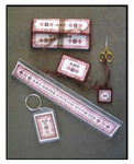 10-1418 ABC Come Stitch With Me Ruler: 235w x 27h, Floss Tag: 35w x 53h, Pocket: 123w x 165h, Needle Book: 61w x 41h, Scissor Fob: 27 x 27 Milady's Needle