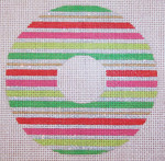 "CH105B TP- Red & Green Stripe Wreath 4"" dia EyeCandy Needleart"