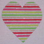 "CH105C TP- Red & Green Stripe Heart 4"" EyeCandy Needleart"