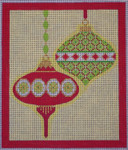 CH405E M&B - 2 Orns short teardrop - R&G 5.75 x 6.75 EyeCandy Needleart