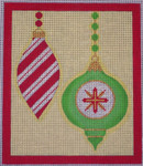 CH405G M&B - 2 Orns candy stripe - R&G 5.75 x 6.75 EyeCandy Needleart