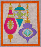 CH405H M&B - 3 Orns Argyle - Orange Border 5.75 x 6.75 EyeCandy Needleart
