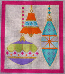 CH405I M&B - 3 Orns Bell - Pink Border 5.75 x 6.75 EyeCandy Needleart