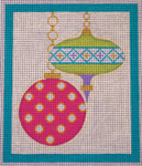 CH405K M&B - 2 Orns round dots - Teal Border 5.75 x 6.75 EyeCandy Needleart