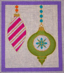 CH405L M&B - 2 Orns candy stripe - Purple Border 5.75 x 6.75 EyeCandy Needleart