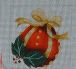 CBK Bettieray Designs CD-73 Red Ornament With Holly Berry 13 Mesh 4""