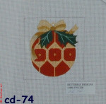"CBK Bettieray Designs CD-74 Red And Gold Ornament 18 Mesh 4"""