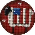 "63f Patriotic Sheep 3"" Round 18 Mesh Rebecca Wood Designs"