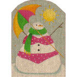 95j Tan Snowman 5 x 3.5 18 Mesh Rebecca Wood Designs